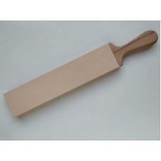 Деревянная досочка с кожей для правки режущей кромки ножа